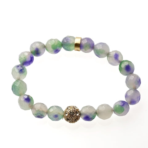 Multi Jade Beaded Crown Jewel Bracelet in Gold