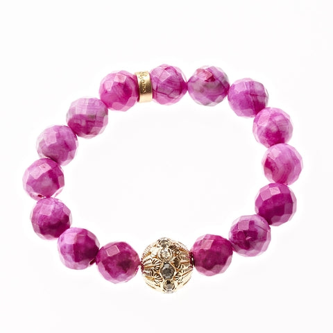 Pink Crazy Lace Agate Beaded Crown Jewel Bracelet in Gold