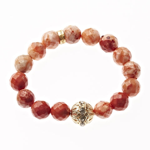 Orange Fire Crazy Lace Agate Beaded Crown Jewel Bracelet in Gold