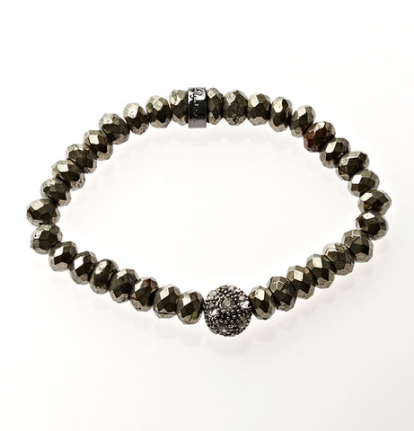 Pyrite Crown Jewel Beaded Bracelet in Silver