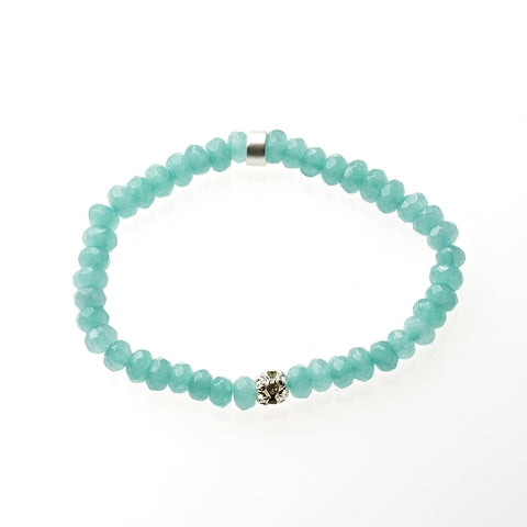 Aqua Jade Beaded Crown Jewel Bracelet in Silver - BellaRyann