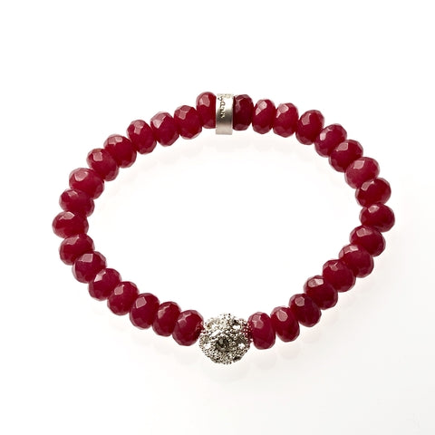Carnelian Jade Beaded Crown Jewel Bracelet in Silver - BellaRyann