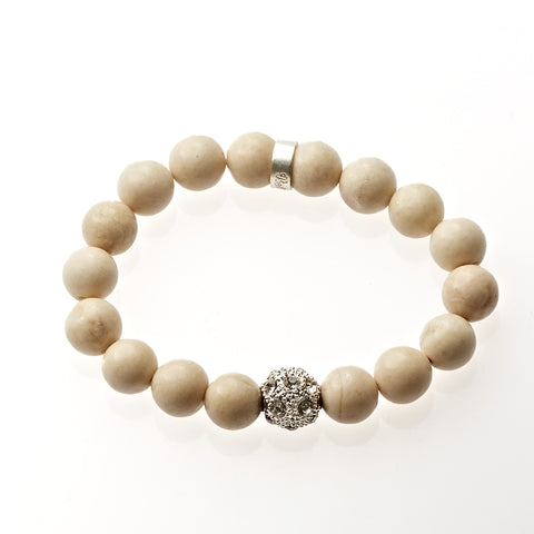 Riverstone Beaded Crown Jewel Bracelet in Silver