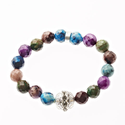 Multi Crazy Lace Agate Beaded Crown Jewel Bracelet in Silver