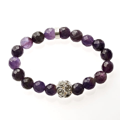 Amethyst Beaded Crown Jewel Bracelet in Silver - BellaRyann