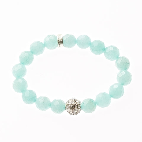 Robin Egg Jade Beaded Crown Jewel Bracelet in Silver