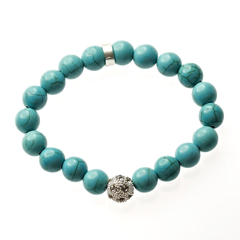 Turquoise Beaded Crown Jewel Bracelet in Silver
