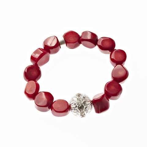 Red Coral Beaded Crown Jewel Bracelet in Silver