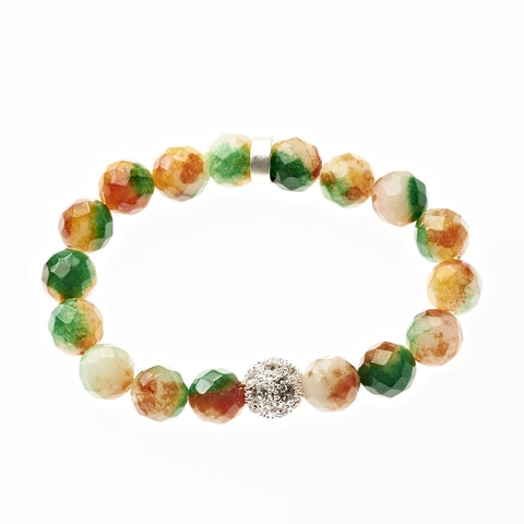 Citrus Sorbet Agate Beaded Crown Jewel Bracelet in Silver - BellaRyann