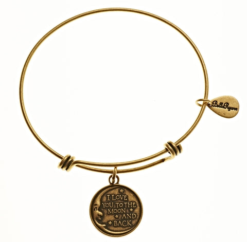 Love You To The Moon And Back Expandable Bangle Charm Bracelet in Gold