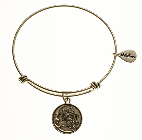 Love You To The Moon And Back Expandable Bangle Charm Bracelet in Silver