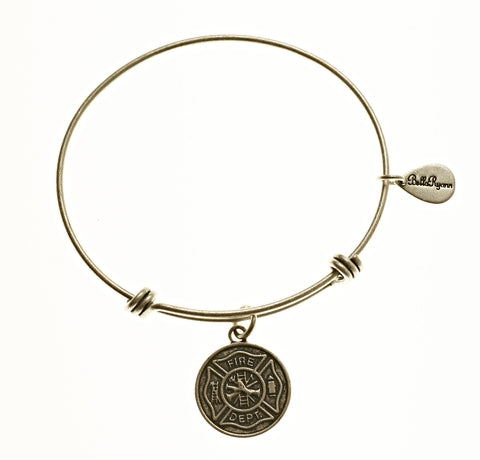 Fire Dept. Expandable Bangle Charm Bracelet in Silver - BellaRyann