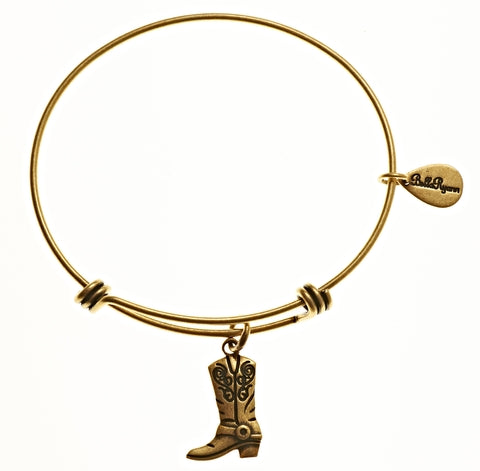 Cowgirl Boot Expandable Bangle Charm Bracelet in Gold - BellaRyann