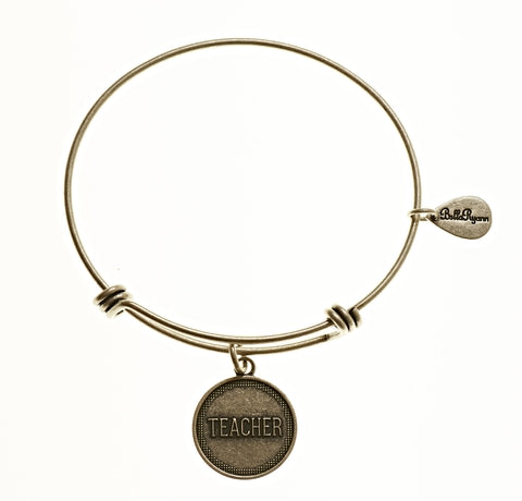 Teacher Expandable Bangle Charm Bracelet in Silver