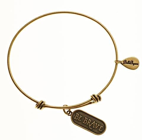 Be Brave Expandable Bangle Charm Bracelet in Gold - BellaRyann
