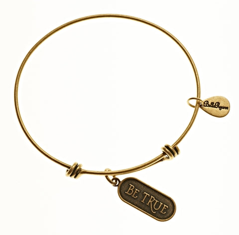 Be True Expandable Bangle Charm Bracelet in Gold - BellaRyann