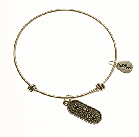 Be True Expandable Bangle Charm Bracelet in Silver - BellaRyann