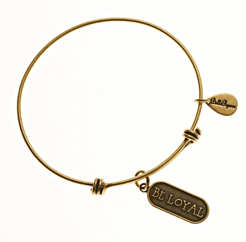 Be Loyal Expandable Bangle Charm Bracelet in Gold - BellaRyann