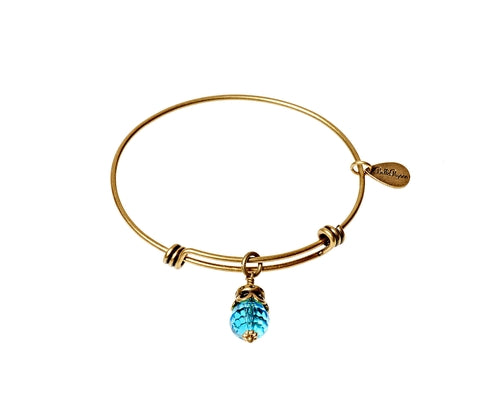 March Expandable Bangle Charm Bracelet in Gold - BellaRyann