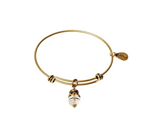 April Birthstone Expandable Bangle Charm Bracelet in Gold - BellaRyann