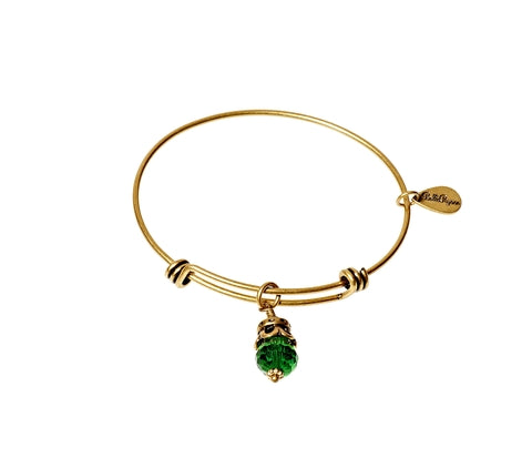 May Expandable Bangle Charm Bracelet in Gold