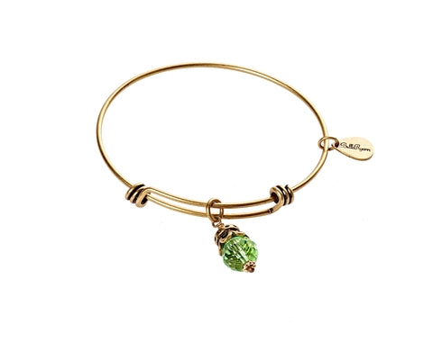 August Birthstone Expandable Bangle Charm Bracelet in Gold - BellaRyann