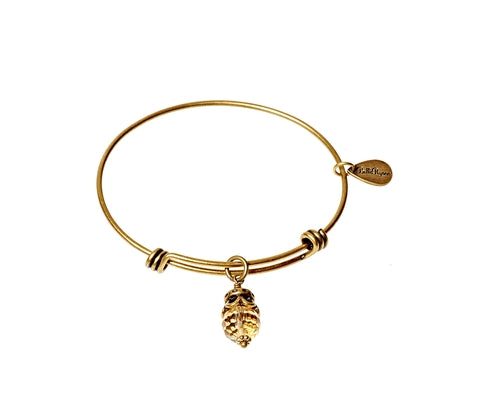 November Expandable Bangle Charm Bracelet in Gold - BellaRyann