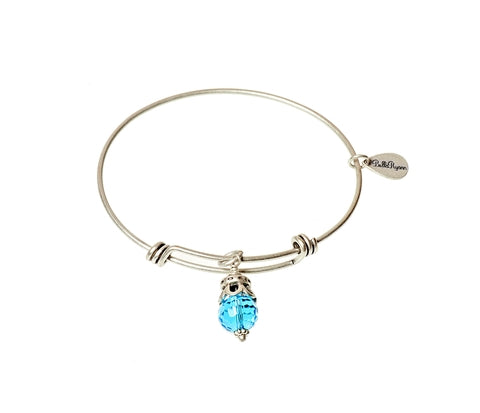 March Expandable Bangle Charm Bracelet in Silver - BellaRyann