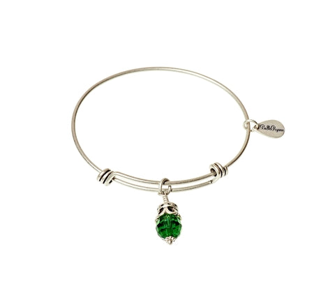 May Expandable Bangle Charm Bracelet in Silver - BellaRyann