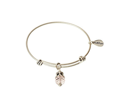 October Expandable Bangle Charm Bracelet in Silver - BellaRyann