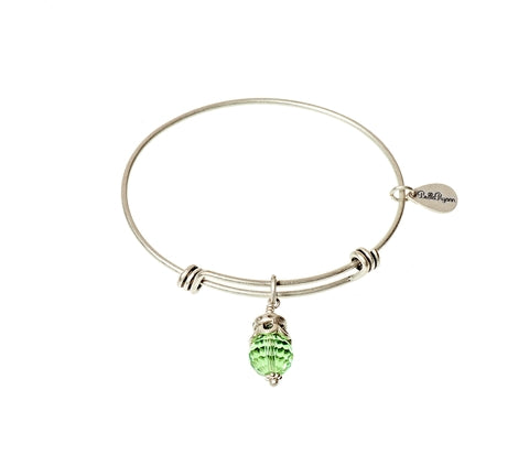 August Birthstone Expandable Bangle Charm Bracelet in Silver - BellaRyann