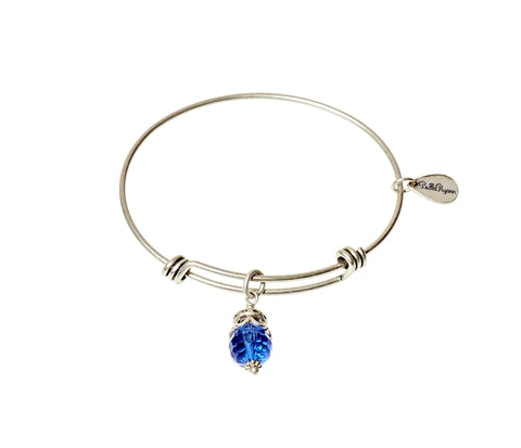 September Expandable Bangle Charm Bracelet in Silver - BellaRyann
