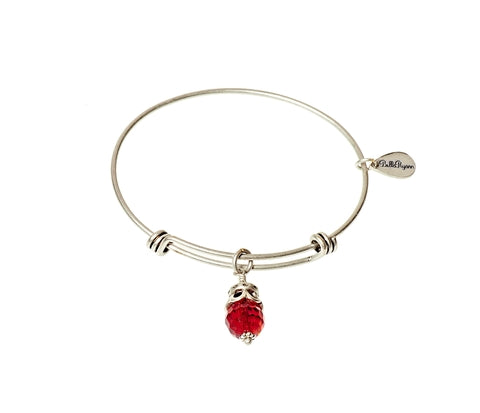 July Expandable Bangle Charm Bracelet in Silver - BellaRyann