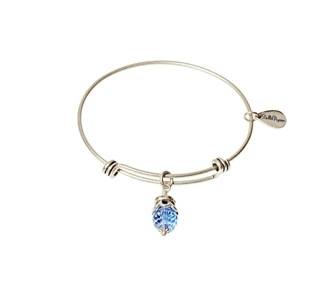December Birthstone Expandable Bangle Charm Bracelet in Silver - BellaRyann