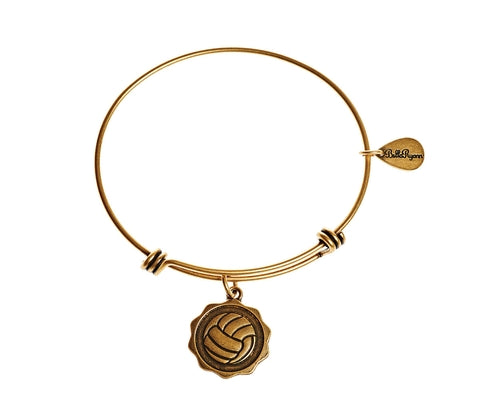 Volleyball Expandable Bangle Charm Bracelet in Gold - BellaRyann