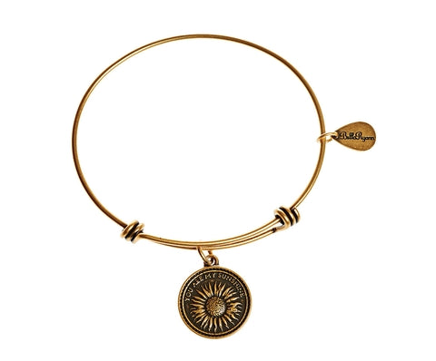 You Are My Sunshine Expandable Bangle Charm Bracelet in Gold - BellaRyann