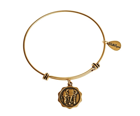 Elephant Expandable Bangle Charm Bracelet in Gold - BellaRyann
