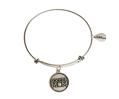 Soccer Mom Expandable Bangle Charm Bracelet in Silver - BellaRyann