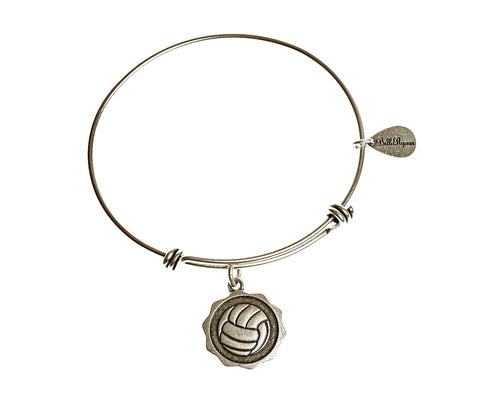 Volleyball Expandable Bangle Charm Bracelet in Silver