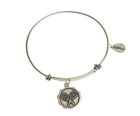 Tennis Expandable Bangle Charm Bracelet in Silver