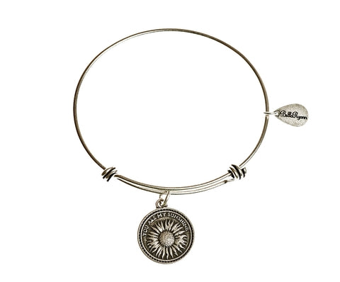 You Are My Sunshine Expandable Bangle Charm Bracelet in Silver