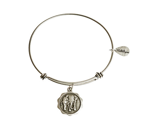 Elephant Expandable Bangle Charm Bracelet in Silver - BellaRyann