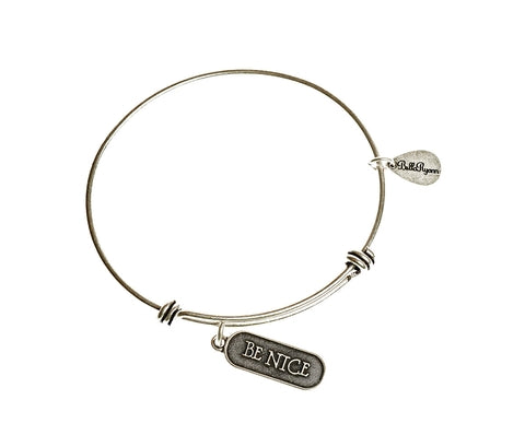 Be Nice Expandable Bangle Charm Bracelet in Silver - BellaRyann