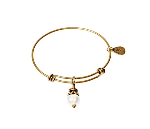 Fresh Water Pearl Expandable Bangle Gemstone Bracelet in Gold - BellaRyann