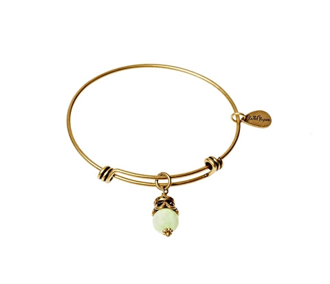 Sea Foam Green Jade Expandable Bangle Gemstone Bracelet in Gold