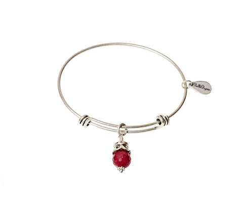 Red Jade Expandable Bangle Gemstone Bracelet in Silver