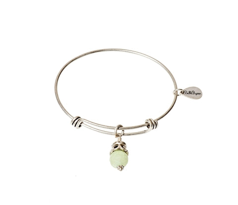 Sea Foam Green Jade Expandable Bangle Gemstone Bracelet in Silver