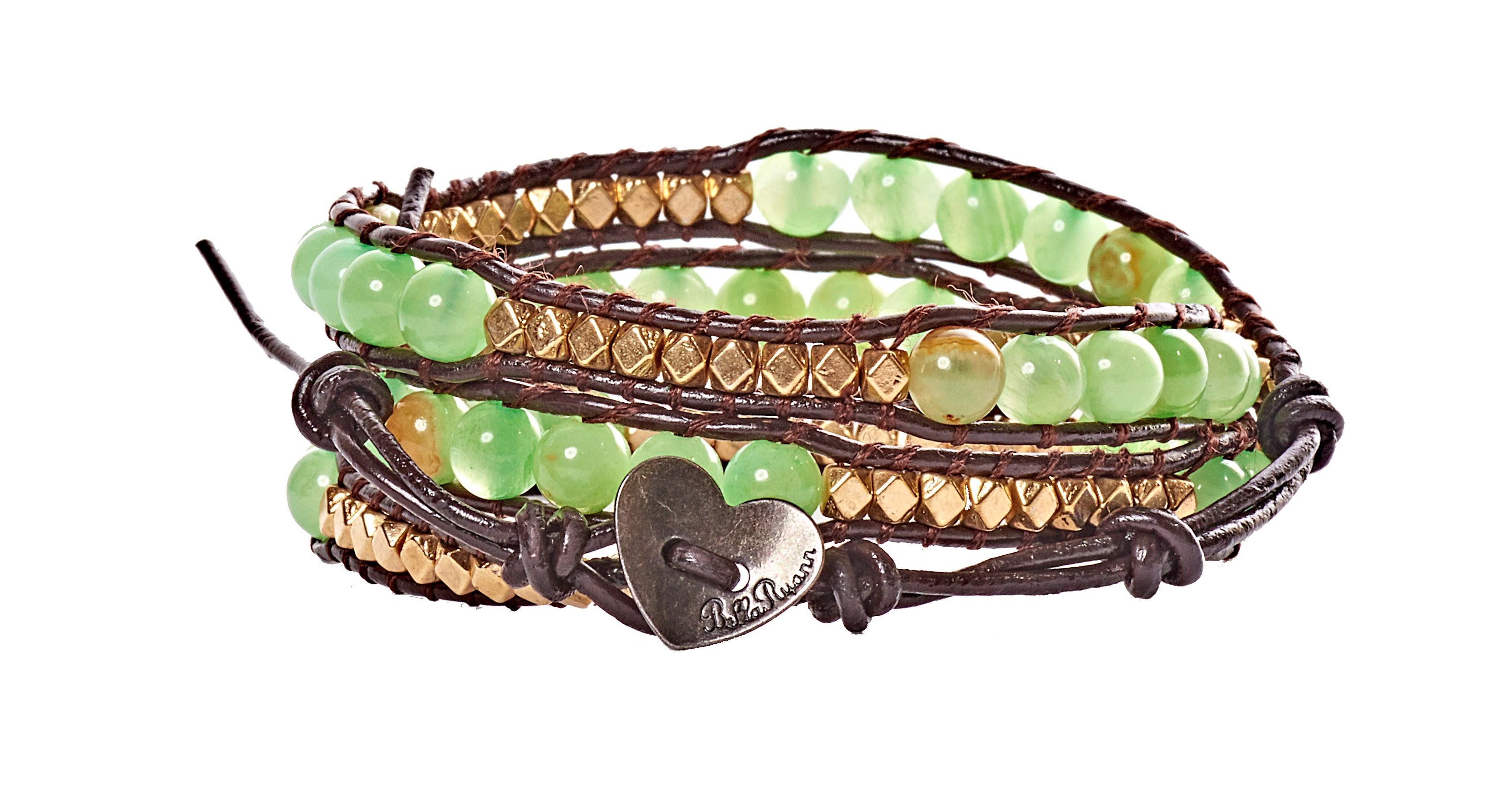 ab73a44e9d52 Halle - Gold Metal   Green Beads with Dark Brown Leather - Triple Wrap  Bracelet -