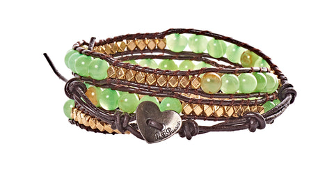 Halle - Gold Metal & Green Beads with Dark Brown Leather -  Triple Wrap Bracelet - BellaRyann