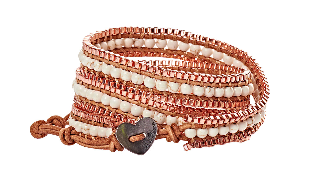 Ginger - Copper & White Beads with Tan Leather - Triple Wrap Bracelet - BellaRyann